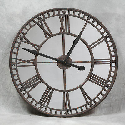 Industrial Large Antiqued Clock with Mirror Face 81cm