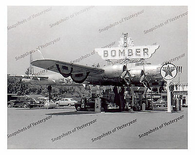 "1940s era vintage photo-""The Bomber"" gas station-airplane-Texaco-old car-8x10 in"
