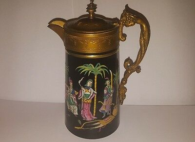 Rare Enamelled Jug with Gilt Brass Handle and Rims - Possibly Exhibition Piece