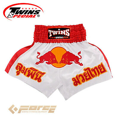 Boxing Trunks Pants Shorts Adult Muay Thai Kick Boxing TWINS Satin Red Bull