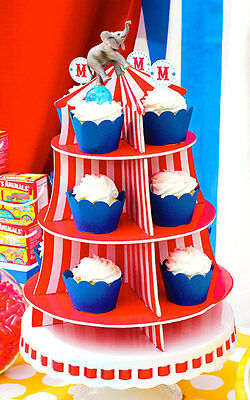 3 Tier Circus Tent CUPCAKE STAND CENTERPIECE Holder CARNIVAL PARTY DECORATION
