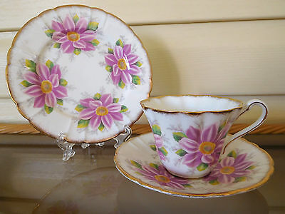 """Royal Stafford """"Aster"""" Trio Made In England 1940s"""