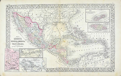 Mexico Central America West Indies Antique Mitchell Map 1881