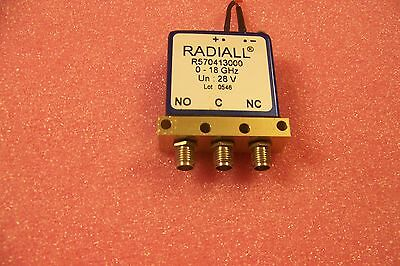 """Good used Radiall SPDT/form """"C"""" SMA coaxial failsafe switch DC-18GHz @ 100 watts"""