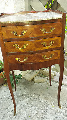 French Inlayed Serpentine Nightstand, Marble Top, With Bronze Mounts