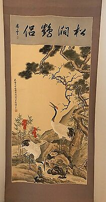 Antique Chinese Qing Dynasty Hand painted Silk Cranes Scroll - Signed