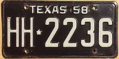 "Vintage 1958 Texas ""passenger"" License Plate Original Cond. (Texas Barn Find)"