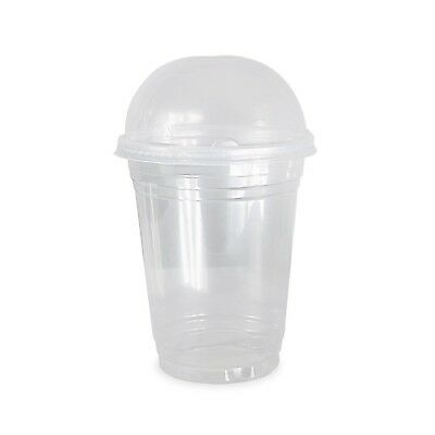 COMFY PACKAGE 50 Sets 16 oz. Plastic CRYSTAL CLEAR Cups with Dome Lids for Co...