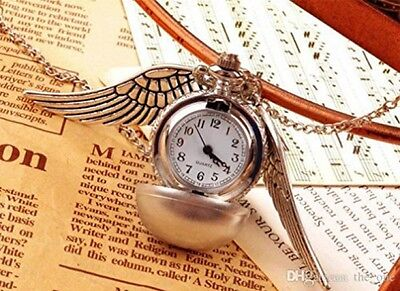 Steampunk Pendant Watch Silver Timepiece Harry Potter Inspired Golden Snitch