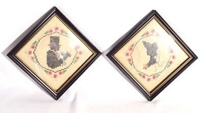 Antique Victorian Love Silhouette Man & Lady Cross Stitch Art Framed Picture Set