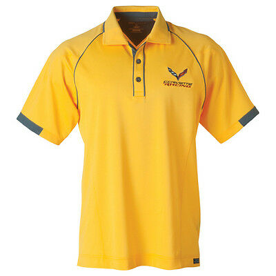 (Men's) Chevrolet C7 Corvette Stingray Racing Polo - Yellow - GM Certified