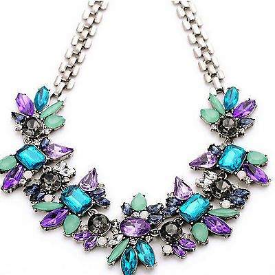 Fab Women Crystal Pendant Chain Silver Plated Bib Statement Choker Necklace