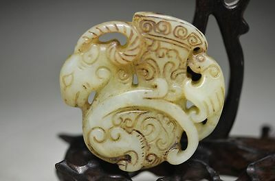 Delicate Chinese Old Jade Hand Carved Sheep Statue ad4
