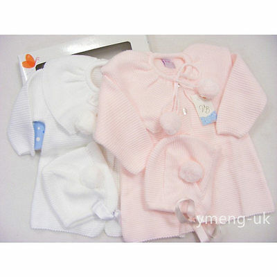 Beautiful Baby Girl's Spanish Knitted Pom Coat with Bonnet/Pink&White 24 M LEFT