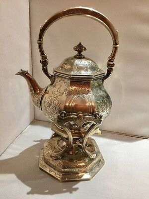 Gorham Sterling Silver English Tea Coffee Pot 2 pieces 5956A Stand with Burner