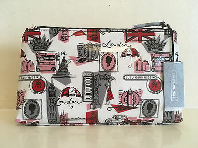 New Genuine Lulu Guinness Make Up Bag London Print Medium Size Cosmetic Bag Gift