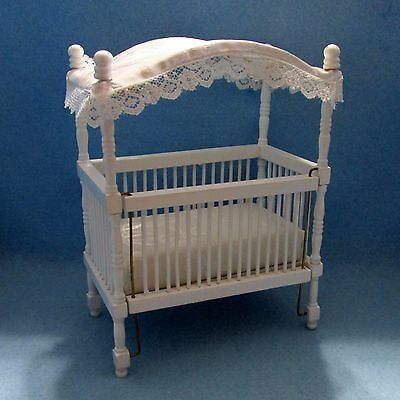 1640WT DOLLHOUSE HAND PAINTED BESPAQ WHITE NURSERY CANOPY CRIB