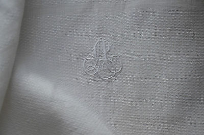 2 antique French pure linen LA monogrammed silk damask guest towels, fringes