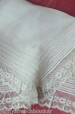 Antique French embroidered handkerchief, coronet and lace trim, 19th century