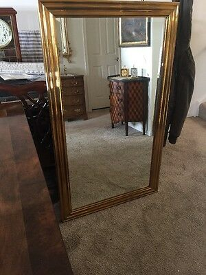 Vintage 1972 CHAPMAN Beveled Solid Brass Mirror 32 X 54 (Large & Beautiful!)