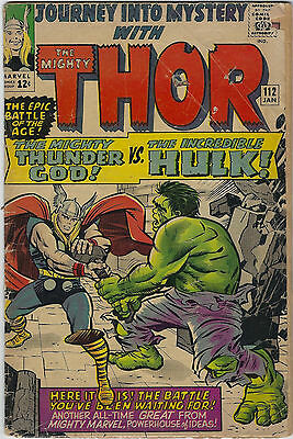 Journey into Mystery #112 (1965, Marvel) Thor vs Hulk, Origin of Loki, G/G+