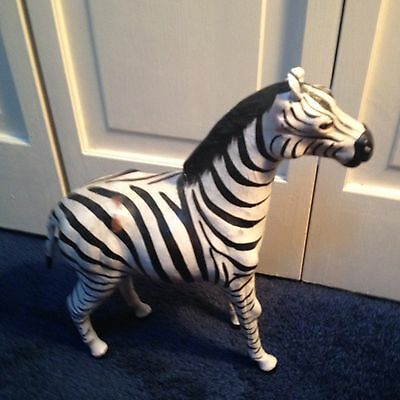 Vintage Paper Mache Zebra Figure Leather Ears  Animal Horse Novelty