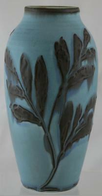 """ROOKWOOD MAT MODERNE 10.5"""" 50th ANNIVERSARY VASE W/STYLIZED LEAVES 1931 MINT"""