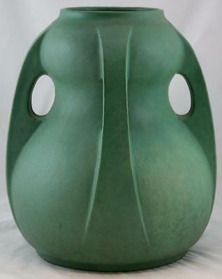 "TECO 13.25"" x 11"" ARTS & CRAFTS BUTTRESSED 4-HANDLE VASE IN MATTE GREEN GLAZE"