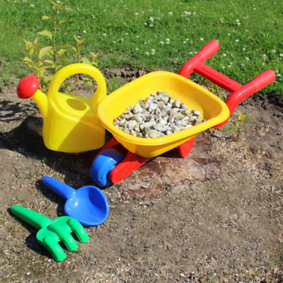 Children's Toy Wheelbarrow Fun Gardening Set with Watering Can Fork and Trowel