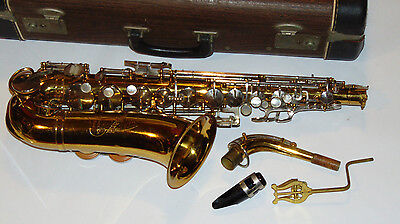 Cleveland White Alto Student Saxophone W/case! Mother Of Pearl Keys! Made In Usa