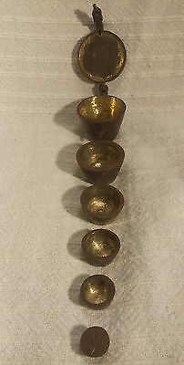 VTG Antique Brass Nesting Apothecary Scale Weight set of 6 Folding Mercantile 16