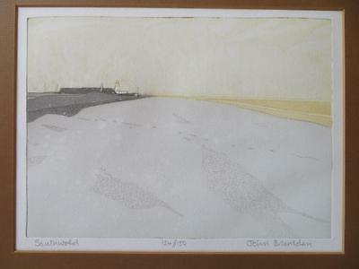 JOHN BRUNSDON (1933-2014) LIMITED EDITION ETCHING pencil signed SOUTHWOLD BEACH