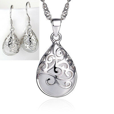 Hot products Fashion Jewelry Set Opal 925 silver Pattern Necklace earrings Gifts