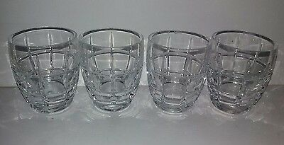 Set Of 4 Heavy Based Crystal Cut Glass Whiskey Tumblers Nice Check Design Manly
