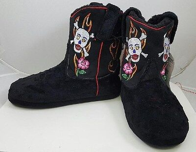 Montana Silversmiths Cowboy Kickers Embroidered Skull & Rose Womens Slipper Boot