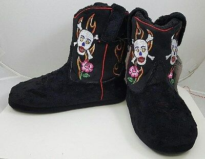 a3b3778aeb6e5d Montana Silversmiths Cowboy Kickers Embroidered Skull & Rose Womens Slipper  Boot