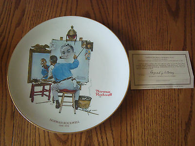"1979 Norman Rockwell Saturday Eve Post TRIPLE SELF PORTRAIT 11"" Collector Plate"