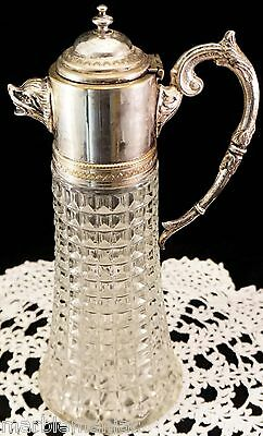 Animal Face Spout Glass Silver Plated Pitcher Wine Claret Jug Carafe  - Italy