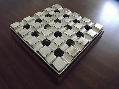 Aluminum Board Room Grid 16 Cigar Ashtray With Wood Base