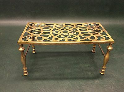 Antique Solid Brass Victorian Trivet Fireplace Stool Pot Kettle Stand England