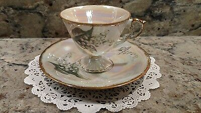 One May Lily Of The Valley Tea Cup & Saucer Set With Mother Of Pearl Finish