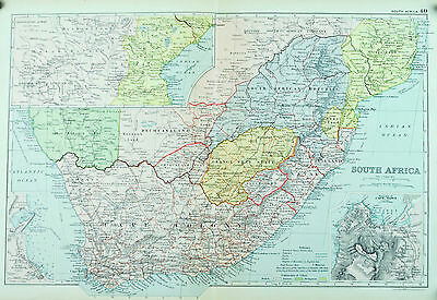 South Africa Cape Colony Antique Map 1891