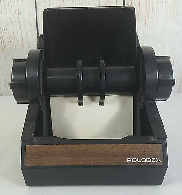 Vintage Lockable Black Steel Rolodex Metal Covered Rotary Card File 4 X 2 1/4