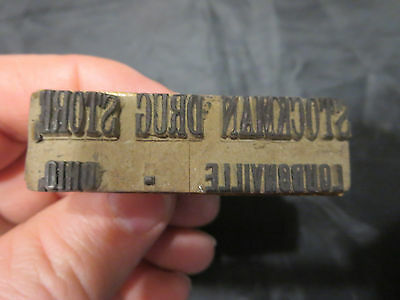 Antique Wood & Rubber Druggist Stamp Stockman Drug Store Loudonville Ohio OH