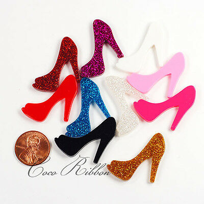 10 pieces 34mm High Heel Shoes  Flatback Resin Cabochons - Solid Giltter G34