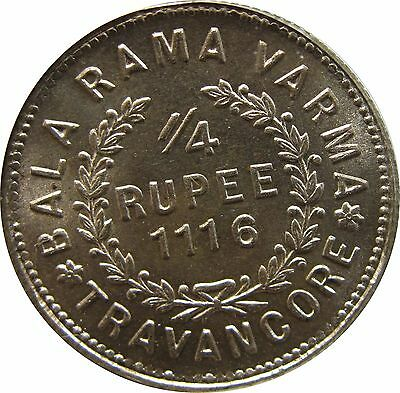India-Travancore 1/4 Rupee ME1116, PCGS MS-65, Much Harder to get than ME1112