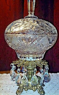 Vintage Crystal Covered Candy Dish with13 hanging Prisms on an Ornate Brass Base