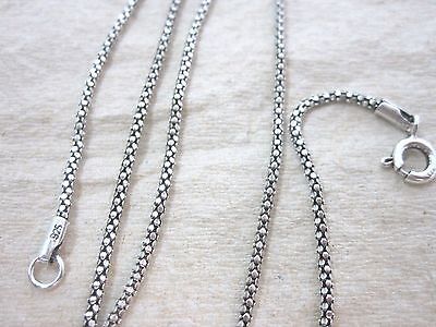 925 STERLING SILVER Small Popcorn Oxidised Bali Thai Style Chain 1618 20 22' 24'