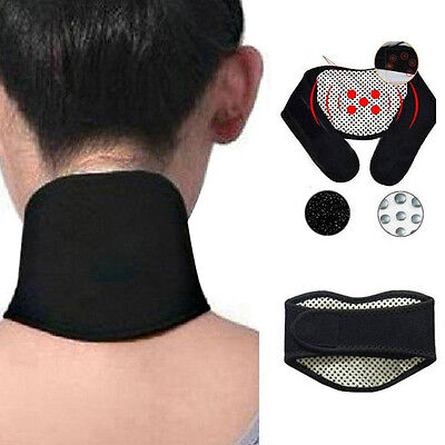 Heating Tourmaline Magnetic Neck Heat Therapy Support Belt Wrap Brace Pain