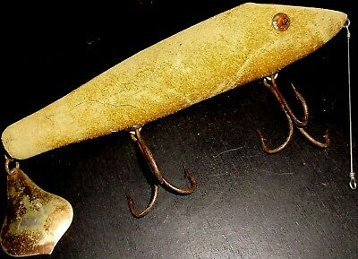 Vintage Furry Fishing Lure old early Collectibles fur chub minnow Antique Bait